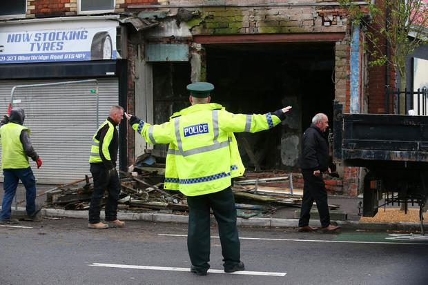 A Building collapses on the Albertbridge Road in East Belfast as Storm Ophelia hits across Northern Ireland on Monday. Photo Colm Lenaghan/Pacemaker Press