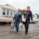 Jacqueline McCready and Debbie Cowan from Eglinton whose home was flooded in August have now been evacuated from their emergency caravan accommodation due to storm Ophelia