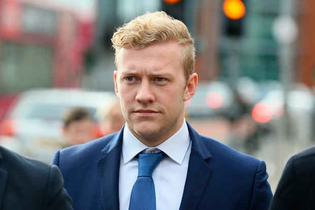 Ireland and Ulster rugby player Stuart Olding arriving at Belfast's Laganside courts Tuesday October 17, 2017.
