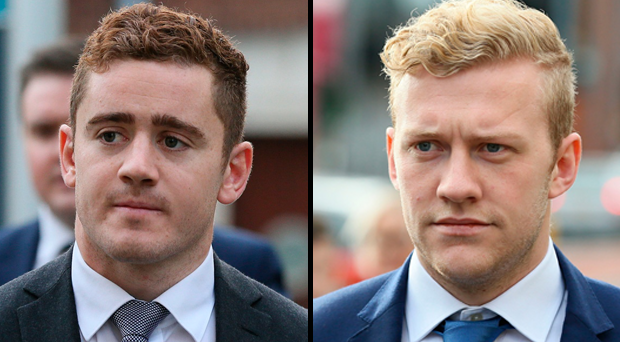 Ireland and Ulster rugby players Paddy Jackson and Stuart Olding arriving at Belfast's Laganside courts on Tuesday October 17, 2017