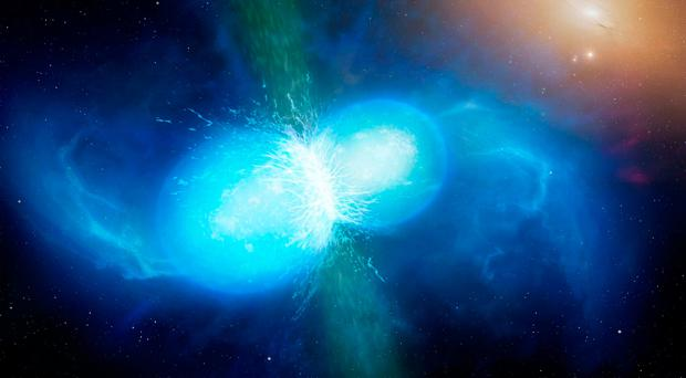 Artist's impression of two neutron stars colliding, as seen for the first time by Prof Smartt