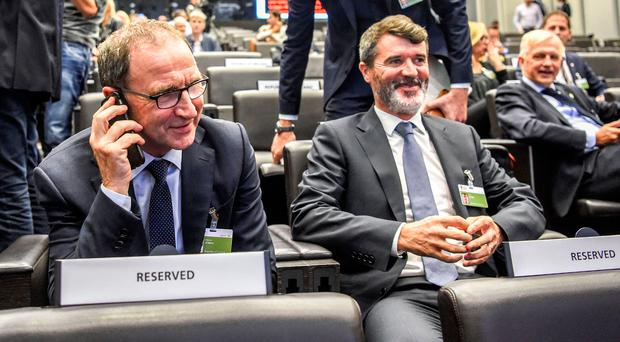 Smiles all round: Martin O'Neill and Roy Keane in Zurich