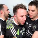 Emotional scenes: Omagh celebrate their win against Errigal Ciaran at Healy Park