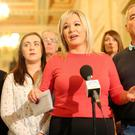 Sinn Fein's leader in the north Michelle O'Neill leads some of her party colleagues out into the Great Hall at Parliament Building's, Stormont, to talk to the media about the ongoing talks to get the Northern Ireland Assembly up-and-running. Picture by Jonathan Porter/PressEye