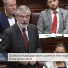 Gerry Adams speaking in the Dail.