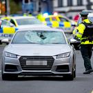 Emergency Services at the scene of an RTC involving an Audi TT and a pedestrian on the Ballyclare Road at its junction with the Antrim Road in Glengormley on October 18th 2017 (Photo by Kevin Scott / Belfast Telegraph)