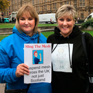 Jackie Harvey and Susan outside the Houses of Parliament at Westminster to protest about pelvic mesh implants