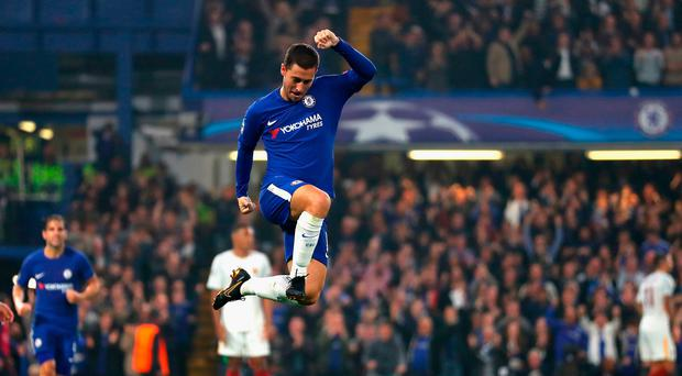 Euro star: Eden Hazard celebrates his Chelsea equaliser against Roma