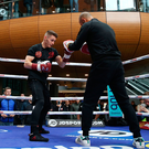 Big hit: Ryan Burnett at a public training session in Belfast's Victoria Square yesterday