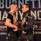 Fired up: Ryan Burnett (left) and Zhanat Zhakiyanov square up yesterday ahead of tomorrow night's SSE Arena showdown