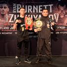 Ready to rumble: Ryan Burnett (left) and Zhanat Zhakiyanov at the Waterfront Hall yesterday ahead of tomorrow night's big showdown at the SSE Arena