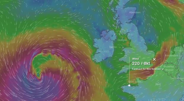 The path of the storm. Source Windy.com