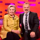 Hillary Clinton with host Graham Norton during filming of The Graham Norton Show (PA Images on behalf of So TV)