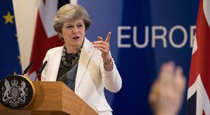 Prime Minister Theresa May holds a press conference on the second day of European Council meetings at the Council of the European Union. (Photo by Dan Kitwood/Getty Images)