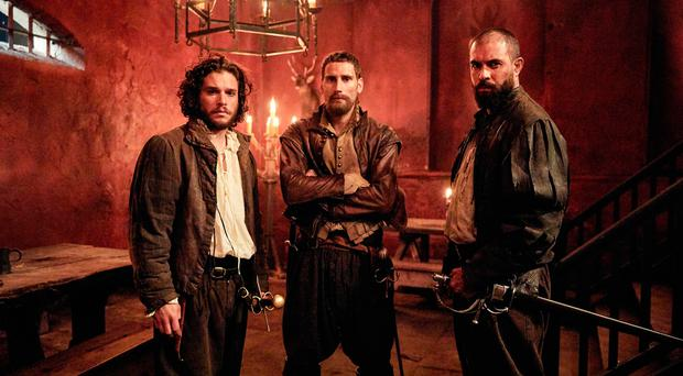 Kit Harington as Robert Catesby, Edward Holcroft as Thomas Wintour and Tom Cullen as Guy Fawkes