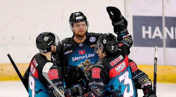 Making his mark: Belfast Giants ace John Kurtz celebrates scoring against the Guildford Flames