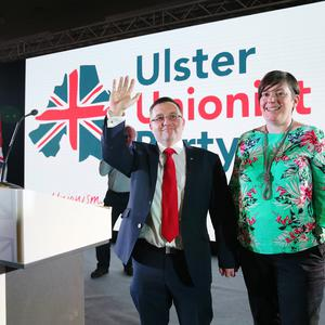 UUP leader, Robin Swann with his wife Jenny after delivering his speech. Photo by Kelvin Boyes / Press Eye.