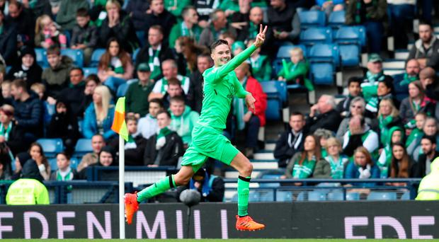 Celtic's Mikael Lustig celebrates scoring his side's second goal of the game during the Betfred Cup, semi-final match at Hampden Park, Glasgow. Pic: Jane Barlow/PA Wire. EDITORIAL USE ONLY