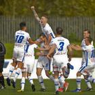 Coleraine players mob David Ogilby after his opening goal at Solitude. Photo Mark Marlow/Pacemaker Press