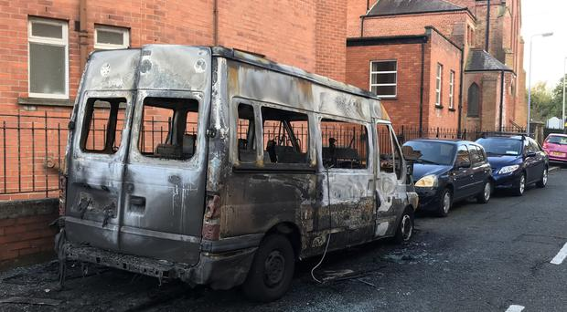 Pacemaker Press 22/10/2017 - A vehicle is extensively damaged on Florida street in East Belfast on Sunday , leaving a number of other cars parked nearby damaged in the incident.
