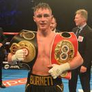 Pacemaker Press 21/10/2017 IBF & Super WBA World Bantamweight Title Unification Ryan Burnett celebrates after beating Zhanat Zhakiyanov to become two time World champion at the SSE Arena in Belfast on Saturday evening. Photo Colm Lenaghan/Pacemaker Press