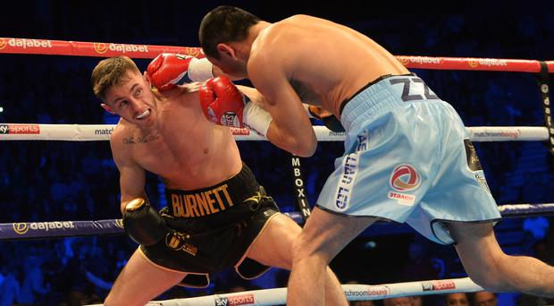 Ryan Burnett and Zhanat Zhakiyanov at the SSE Arena in Belfast