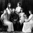 Savagely murdered: Nicholas II of Russia (seated centre) with his family (from left): Olga, Maria, wife Alexandra, Anastasia, Alexei and Tatiana