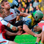 Overpowered: Ulster's Chris Henry and Paul Marshall can't stop La Rochelle's Kevin Gourdon going over for a try
