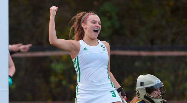 Goal happy: Jessica McMaster scores for Ireland at Stormont