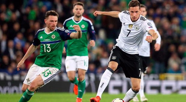 Germany's Julian Draxler (right) in action against Northern Ireland at Windsor Park earlier this month.