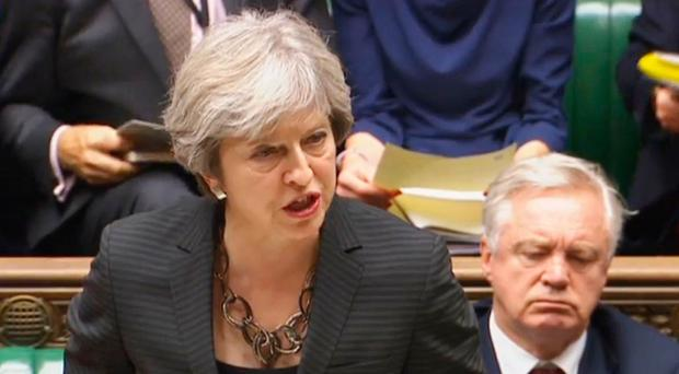 Prime Minister Theresa May makes a statement to MPs in the House of Commons on the Brexit talks. Pic: PA Wire
