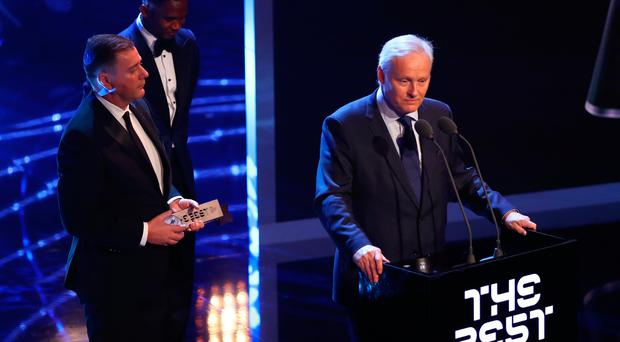 Celtic FC are awarded the FIFA Fan Award during The Best FIFA Football Awards Show on October 23, 2017 in London, England. (Photo by Michael Steele/Getty Images)