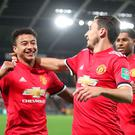 Manchester United's Jesse Lingard celebrates scoring his side's second goal. Pic: Nick Potts/PA Wire.