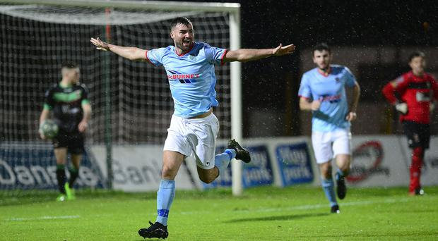 Ballymena's Jonathan McMurray celebrates his goal. Picture By: Arthur Allison/Pacemaker Press