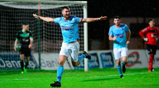 Back in business: Johnny Murray shows his delight after netting on his return from injury