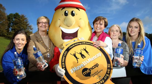 Crisp message: Mr Tayto is encouraging you to #MoveIt4Mencap in the 37th Deep RiverRock Belfast City Marathon with the Deputy Lord Mayor of Belfast Sonya Copeland, Denise Watson (U105), Margaret Kelly (Director of Mencap NI) and Deep RiverRock ladies Aine McNamee and Jade Gallagher