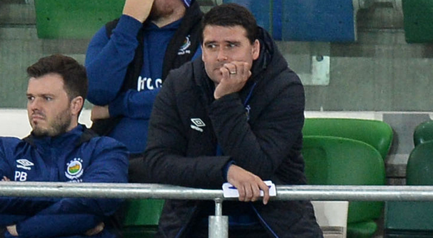 Feeling blue: Linfield boss David Healy gave his players a piece of his mind on Monday evening