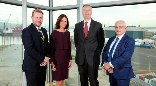 From left: Rainbow Communications' Stuart Carson, CBI director general Carolyn Fairbairn, First Trust chief Des Moore and the Financial Times' Martin Wolf
