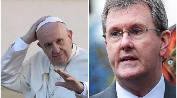 DUP MP Sir Jeffrey Donaldson has appeared to give his backing to the Pope Francis' visit to Ireland next year. / Credit: Pacemaker/ AP Photo)