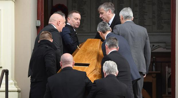 Funeral of Glen Barr Derry no1-27/10/2017-Trevor McBride picture© funeral of Glen Barr,former UDA loyalist leader chief executive of the International School for Peace Studies,funeral service at Ebrington Presbyterian Church in Derry(Friday)