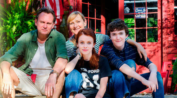 Philip Glenister and Lesley Sharp with Rosie Day and Brenock O'Connor in Living the Dream