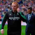 Sympathetic: Hibs manager Neil Lennon and Pedro Caixinha