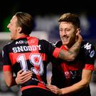 Super sub: Crusaders midfielder Matthew Snoddy celebrates after opening the scoring against Ballinamallard United at Seaview last night