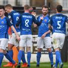 Glenavon's Andrew Hall scored the opener during last Saturday's game against Carrick Rangers. Photo Kirth Ferris/Pacemaker Press