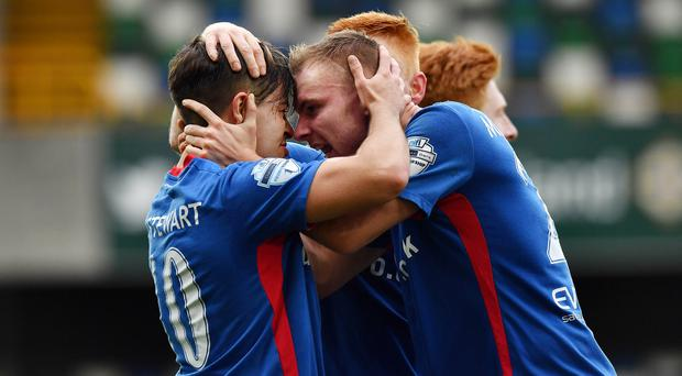 Linfield's Jordan Stewart celebrates the opening goal against Ards. Photo Charles McQuillan/Pacemaker Press