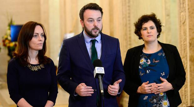 SDLP leader Colum Eastwood with his deputy Nichola Mallon (left) and Claire Hanna