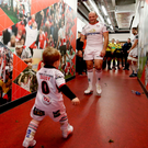 Role model: Rory Best with his son Richie before winning his 200th cap for Ulster