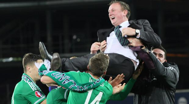 New high: Michael O'Neill says reaching Russia would be a step up from the Euros. Photo: David Maginnis/Pacemaker