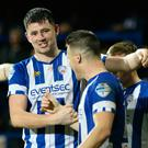 Joe the goal: Coleraine's Joe McCready celebrates strike that sealed win over Mallards
