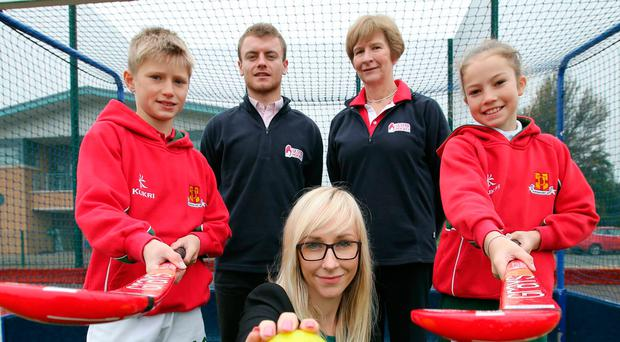 Big plans: Rising stars Tom Archbold and Isabella Monaghan join Ulster Hockey's youth development officer Andrew Brown and executive manager Jill Poots, and Linwoods' head of marketing Sarah Shimmons, at the launch of the mini-tournaments
